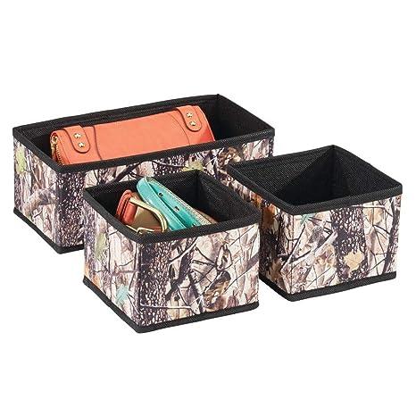 mDesign Juego de 3 cajas organizadoras – Cestos de tela con tela de camuflaje – Cajas