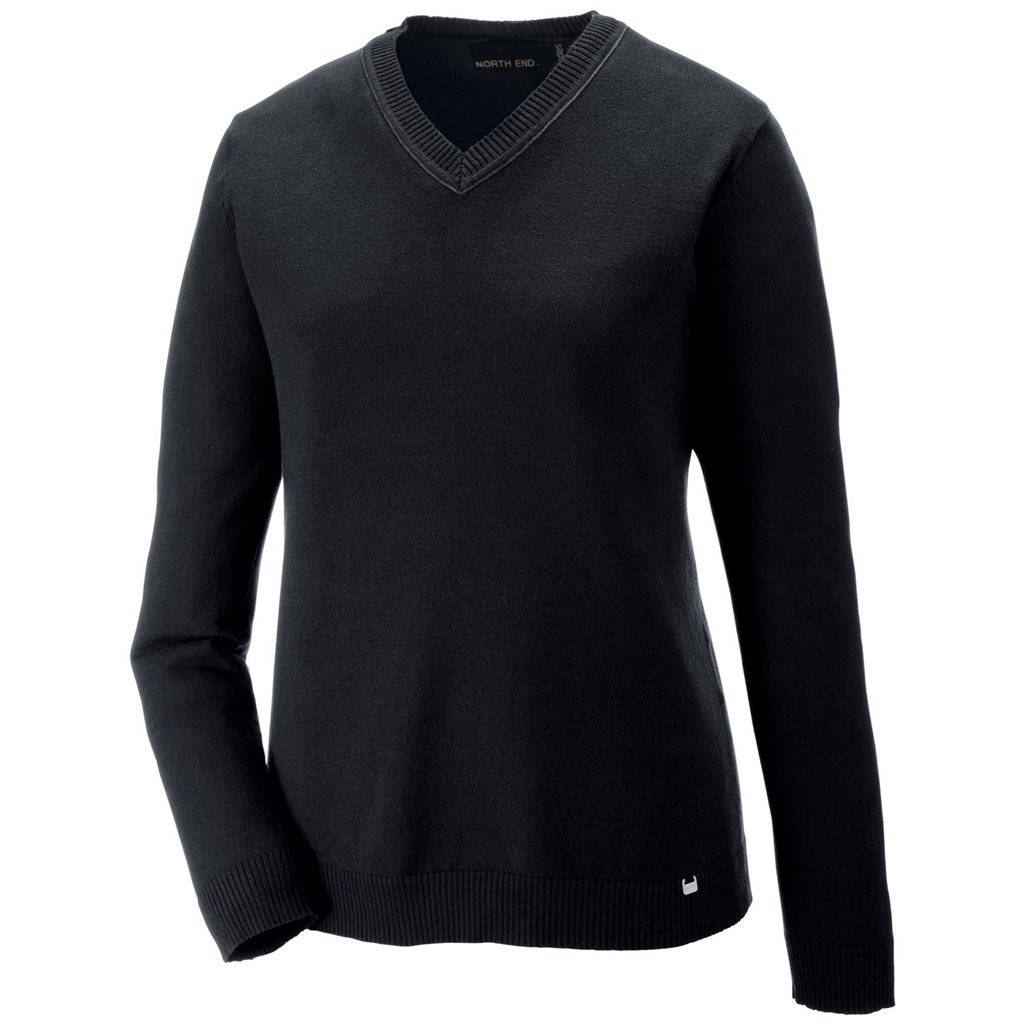 Ash City Ladies Merton V-Neck Sweater (X-Small, Black/Fossil Grey)