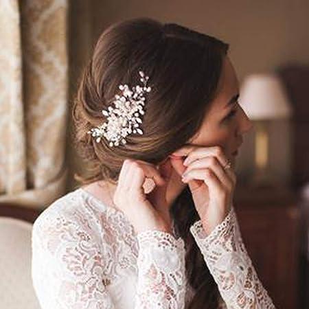 Deniferymakeup Brautschmuck Perlen Haarkamm Hochzeit Haarkamm Elfenbein Kopfbedeckung Zarte Perlen Haarteil Kristall und Perl