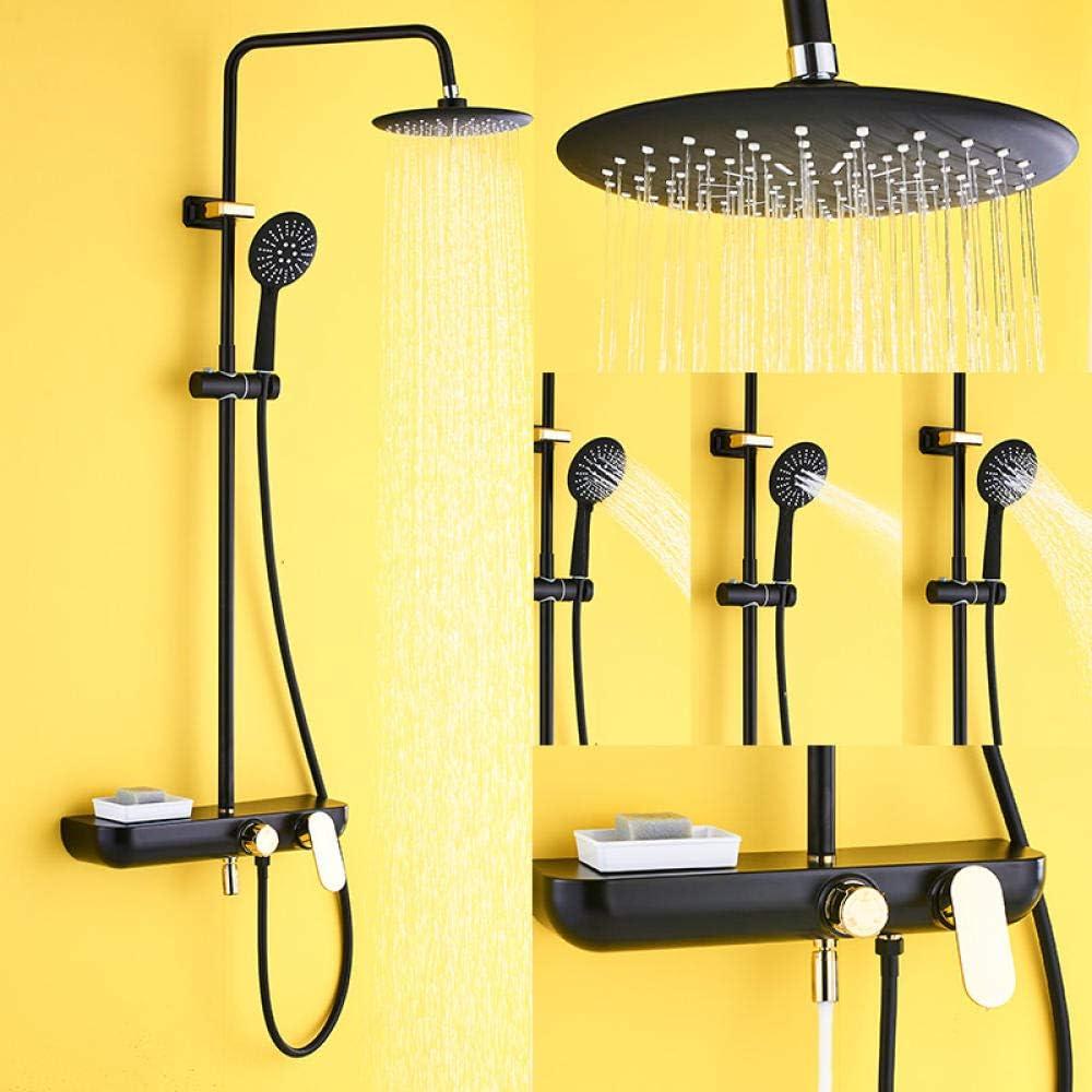 Huin Juego de grifos de ducha de oro negro blanco, cabezal de ducha de lluvia de 9 pulgadas, grifo mezclador de latón de 3 vías con estante, caño para bañera, ducha de baño-Negro y dorado