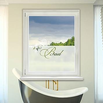 Sichtschutzfolie Fensterfolie Fensterdekor für Badezimmer Spruch Bad ...