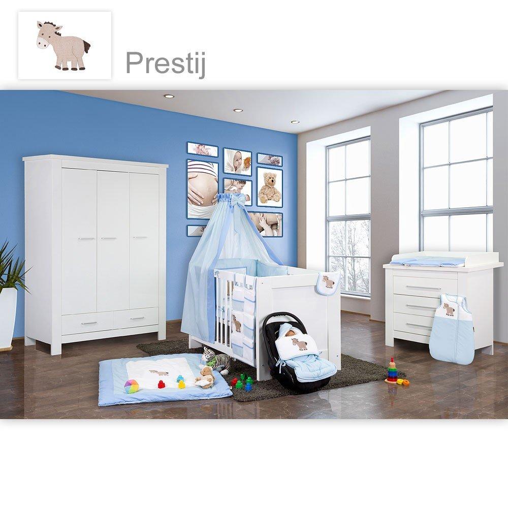 Babyzimmer Enni in weiss 10 tlg. mit 3 türigem Kl. + Textilien von Prestij, blau
