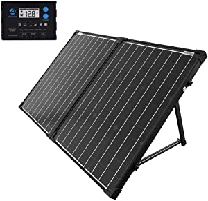 ACOPOWER Portable Solar Panel Kit 100W, Foldable 2X 50W Mono Suitcase, ProteusX Waterproof 20A LCD Charge Controller