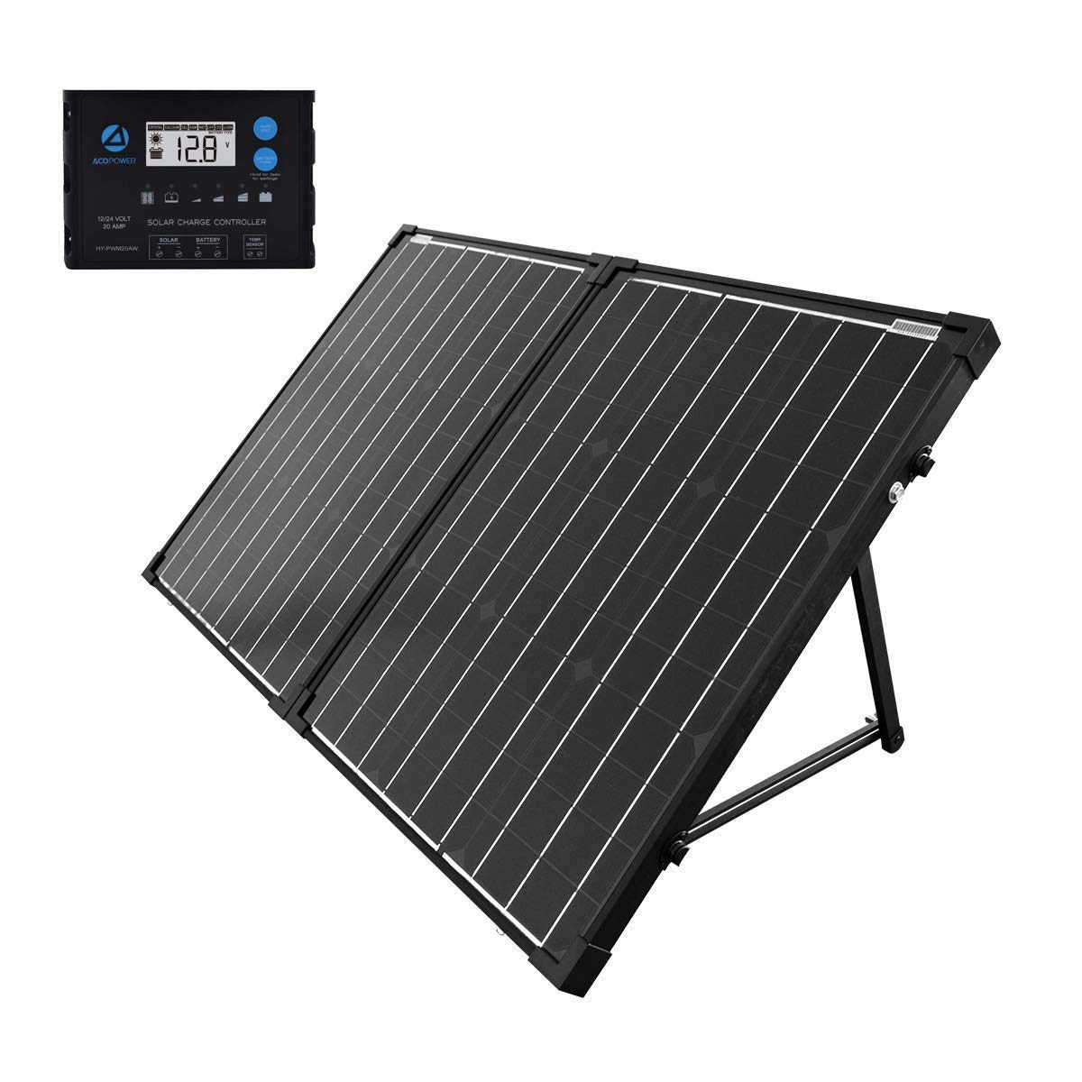 ACOPOWER Portable Solar Panel Kit 100W, Foldable 2X 50W Mono Suitcase, ProteusX Waterproof 20A LCD Charge Controller for Both Generator and 12V Battery for RV & Marine (New Launched) by ACOPOWER