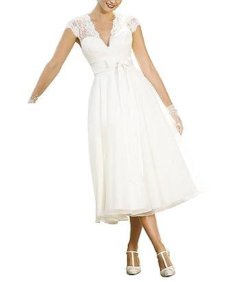 9dd60e4c9cd8 Faironline Women's V-Neck Tea Length Wedding Dress Lace Bridal Evening Gowns  Size2 Ivory