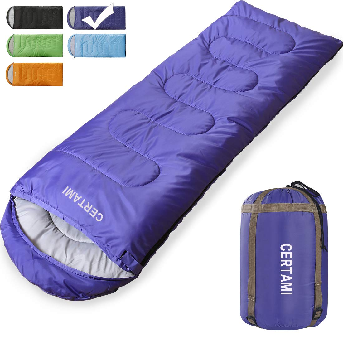CER TAMI Sleeping Bag for Adults, Girls & Boys, Lightweight Waterproof Compact, Great for 4 Season Warm & Cold Weather, Perfect for Outdoor Backpacking, Camping, Hiking. (Purple/Right Zip) by CER TAMI