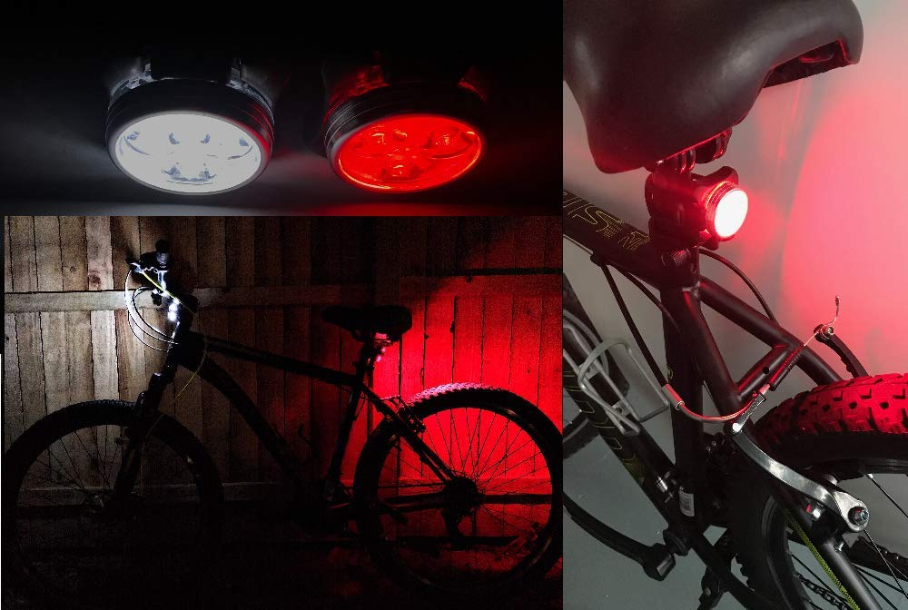 4 Light Modes HAKAN LED USB Rechargeable Bicycle Bright Light Set IPX4 Water Resistant ● Mountain Bike Universal FIT with Clip /& Mount Strap ● 1 White /& 1 Red Lights 2 USB Plugs 2 Bands