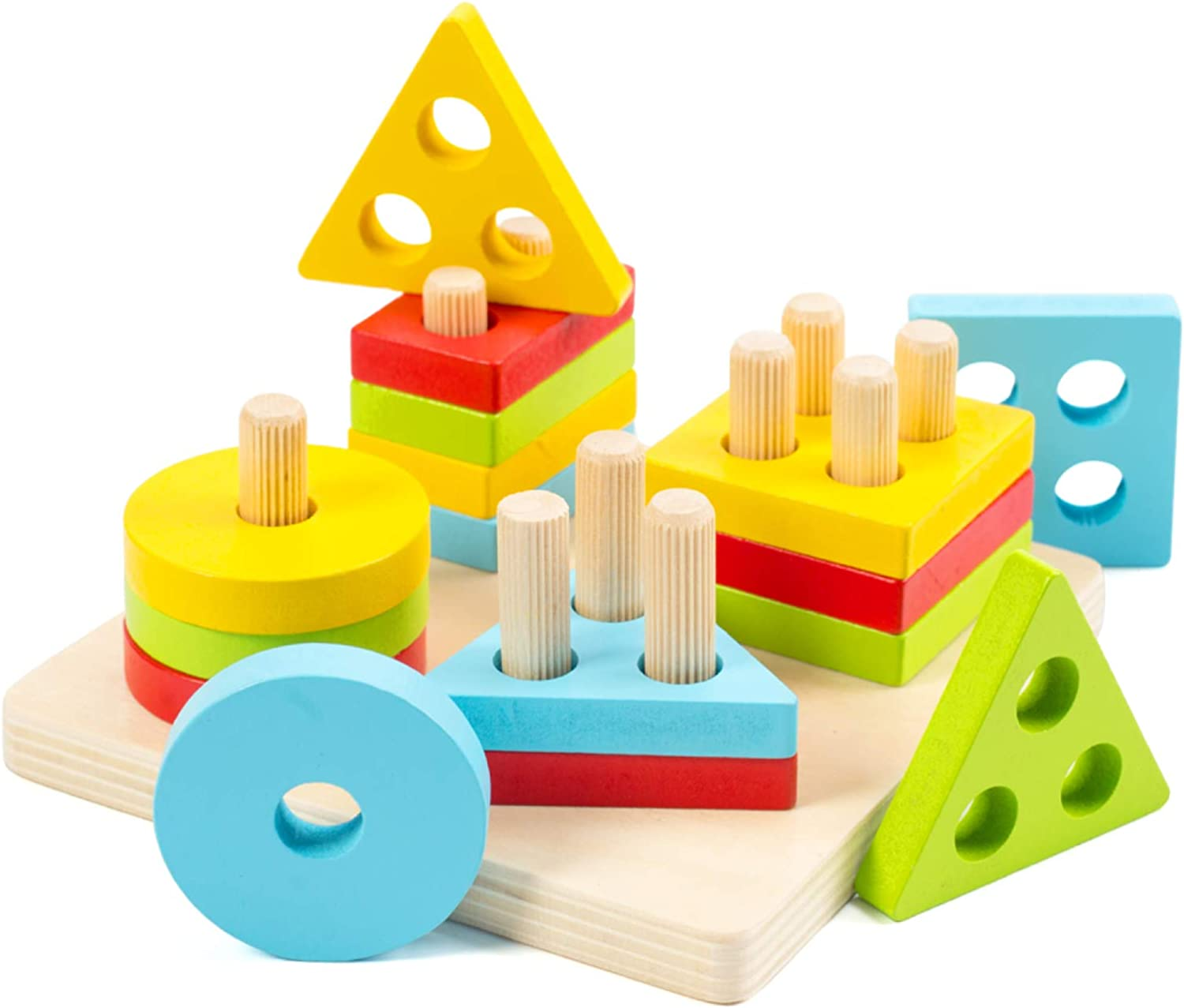 Eco-friendly Wooden pyramid Educational Toy Kids gift Wood baby toy Montessori toys Waldorf toys 28cm Wooden Stacking Toy 11/'/'