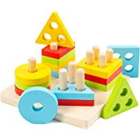 Wooden Sorting & Stacking Toys for Toddlers, WOOD CITY Educational Shape Color Recognition Puzzle Stacker, Early…