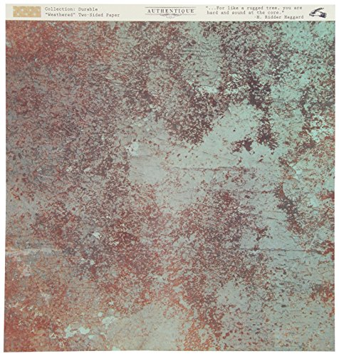Authentique Paper Durable Double-Sided Cardstock 12 x 12-Inch, Weathered Patina Paint Swatch/Mini Dot (Weathered Paper)