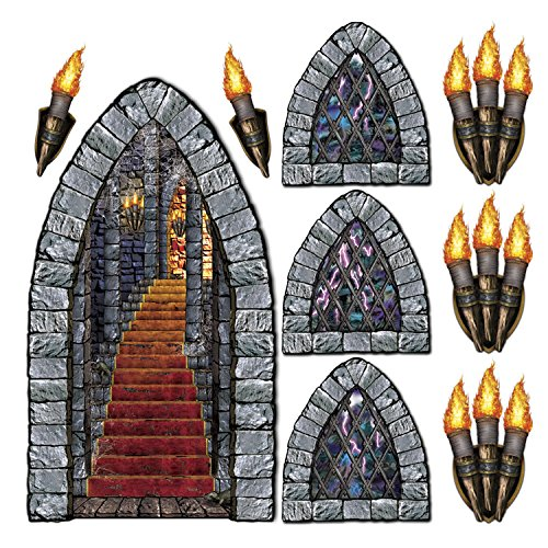 Classroom Door Halloween Decorations - Stairway, Window & Torch Props Party