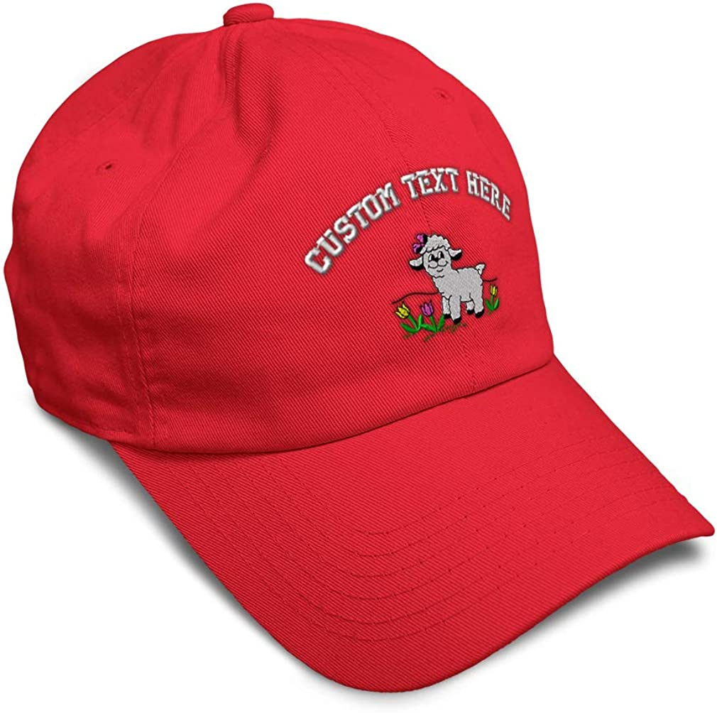 Custom Soft Baseball Cap Lamb with Bow and Flowers Embroidery Twill Cotton