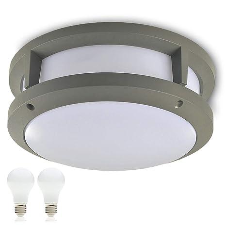 Plafón Lámpara LED exterior Aurora (redondo) E27 230 V IP44 LED Bombilla Lámpara de