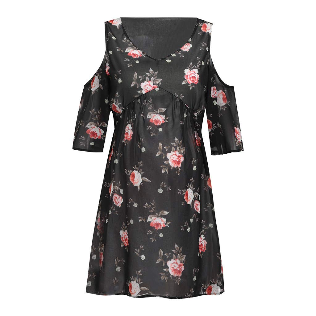 chuxin Huang❤️ Womens Dresses Summer Casual V-Neck Floral Print Cold Shoulders Geometric Tie Front Dress Black by chuxin huang_Maternity Dress (Image #4)