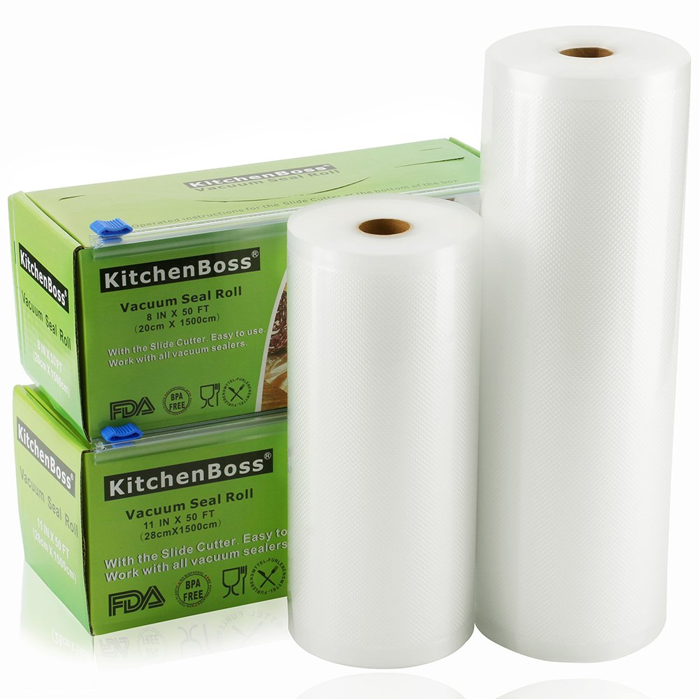 "Vacuum Sealer Rolls with Cutter Box 2 Pack 8""x50' and 11""x50' KitchenBoss Commercial Grade Bag Rolls for Food Saver and Sous Vide(100 feet)"