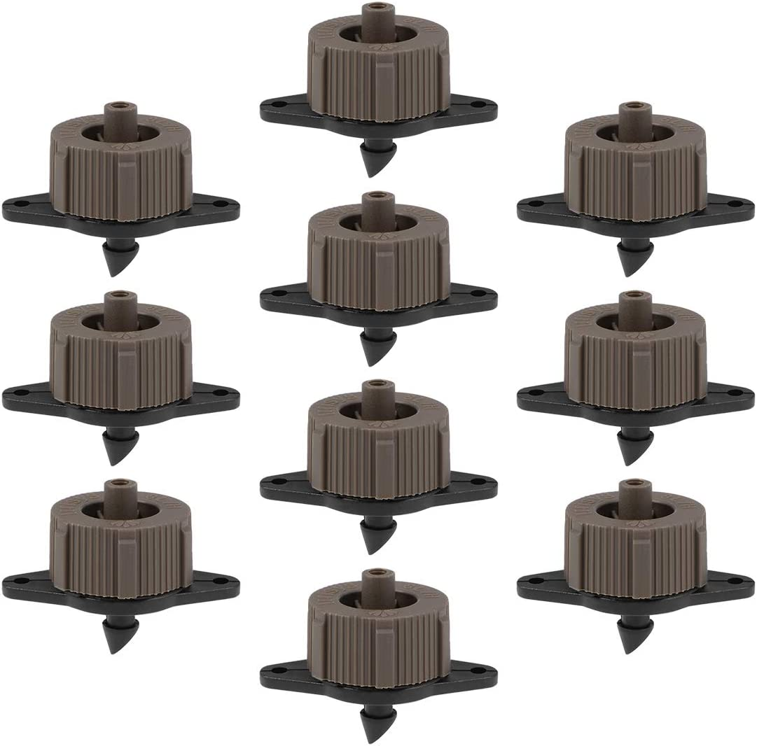 uxcell Pressure Compensating Dripper 2 GPH 8L/H Emitter for Garden Lawn Drip Irrigation with Barbed Hose Connector, Plastic Black Brown 15pcs