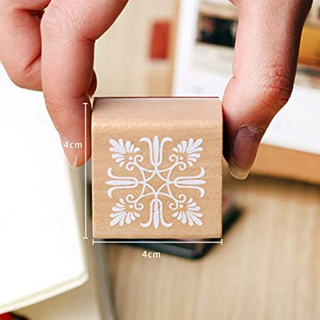 REFURBISHHOUSE 6 Verschiedene Holz Stempel Gummidichtung Quadrat Handschrift DIY Kunst Blumen Spitze