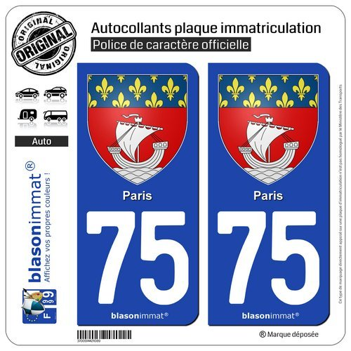blasonimmat 2 Autocollants plaque immatriculation Auto 75 Paris - Armoiries