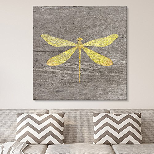 Square Yellow Dragonfly Wood Effect