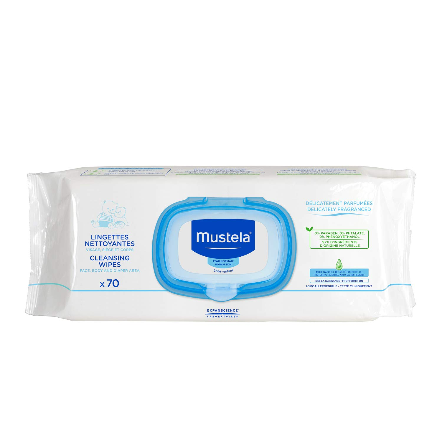 Mustela Cleansing Wipes, Ultra Soft Baby Wipes with Natural Avocado Perseose & Aloe Vera, Lightly Scented, Available in 1 Pack (70 Count), 3 Pack (210 Count) or 6 Pack (420 count)