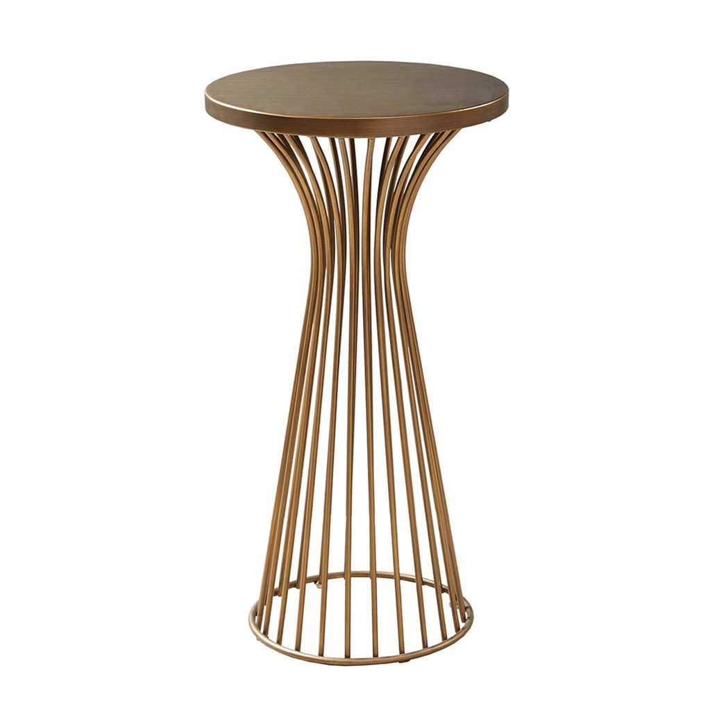 Mid Century Modern Round Antique Bronze Metal Wire Frame 30 inch Pedestal Accent Table - Includes Modhaus Living Pen