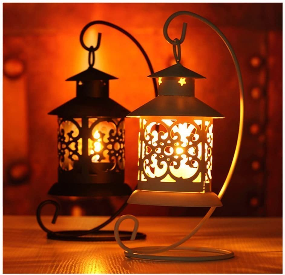 LAAT Candle Holder Plant Glass Vase Holder Iron Hanging Stand Holders Candlestick Glass Ball Lantern Hanging Stand Hooks Tealight Festival Party Home Garden Decoration Landscape Hanger Hook White