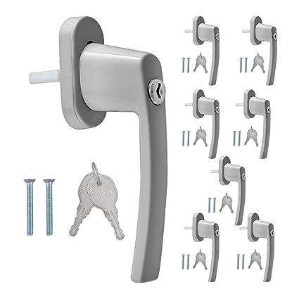 Kwmobile 8 Maniglie Per Finestre In Alluminio Con Chiavi Maniglia