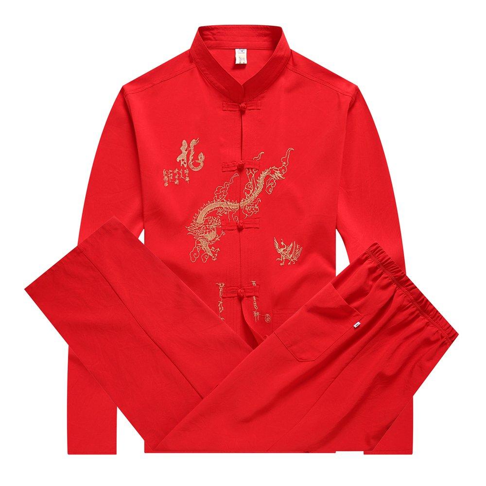 KINDOYO Homme Veste de Tang Chinois Vêtement Tai Chi Kung-Fu Chemise en Polyester, 5 Couleurs