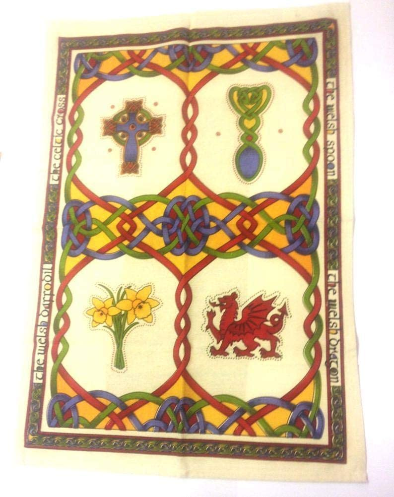 Royal Tara Irish Tea Towel with Celtic Knots Design -100% Cotton (Welsh Emblems)
