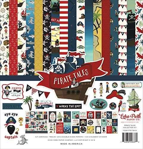 - Echo Park Paper Company PTA176016 Pirate Tales Collection Kit Paper, red, Navy, Black, Brown, Yellow