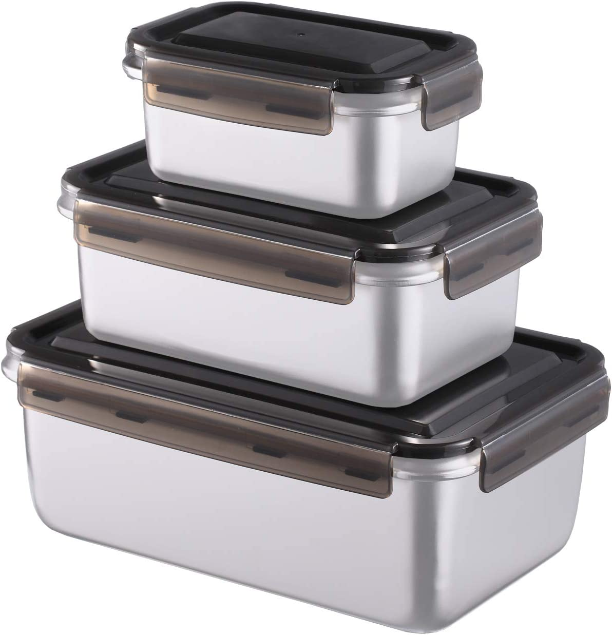 316 Medical Stainless Steel Food Containers - 4800ml Total Capacity Set of 3 Sizes Kimchi Storage Lunch Box with Sealed Lid - Freezer & Dishwasher Safe - for Salad, Sandwich, Pickles, Picnic, Camping