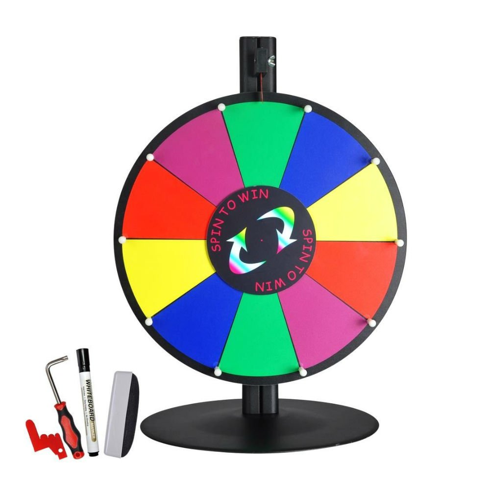 15'' Tabletop Color Dry Erase Prize Wheel +Stand Fortune Spinning Game Tradeshow