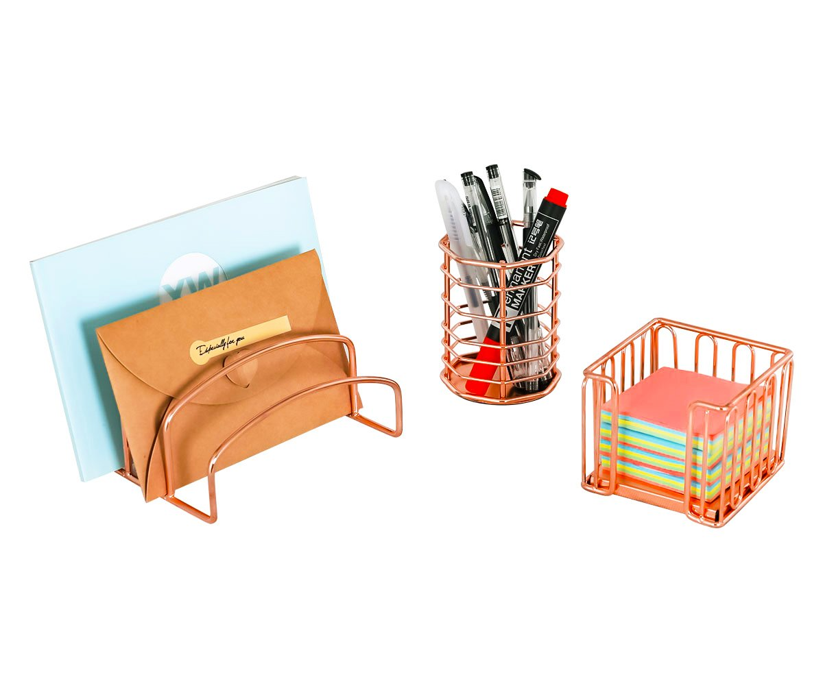 Awesome Amazon.com : PAG Rose Gold Office Supplies 5 In 1 Metal Desk Organizer Set    Hanging File Organizer, File Tray, Letter Sorter, Pencil Holder And Stick  Note ...