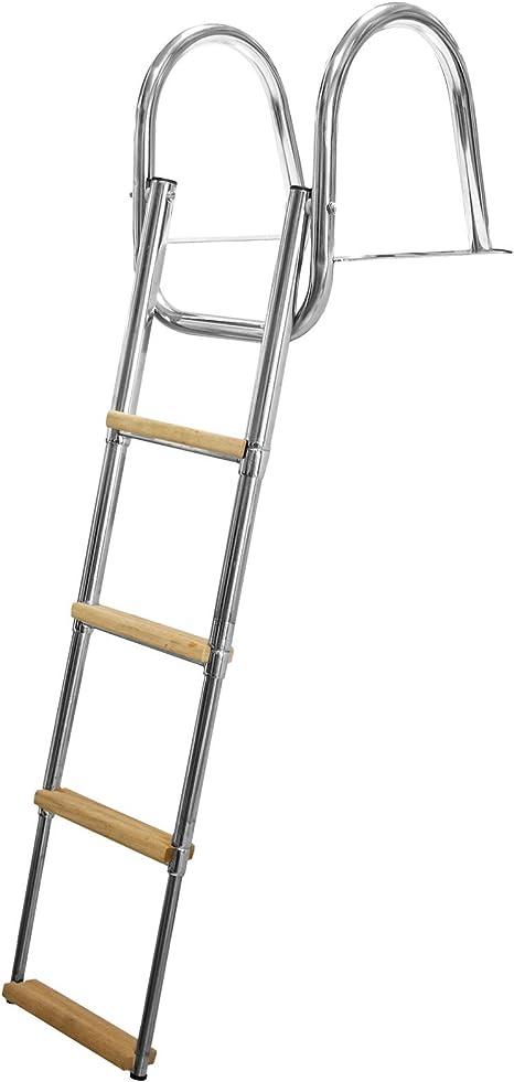 Escalera Escalera Telescópica de Acero 113 cm 4 peldaños Anchas para Tabla Barco: Amazon.es: Deportes y aire libre