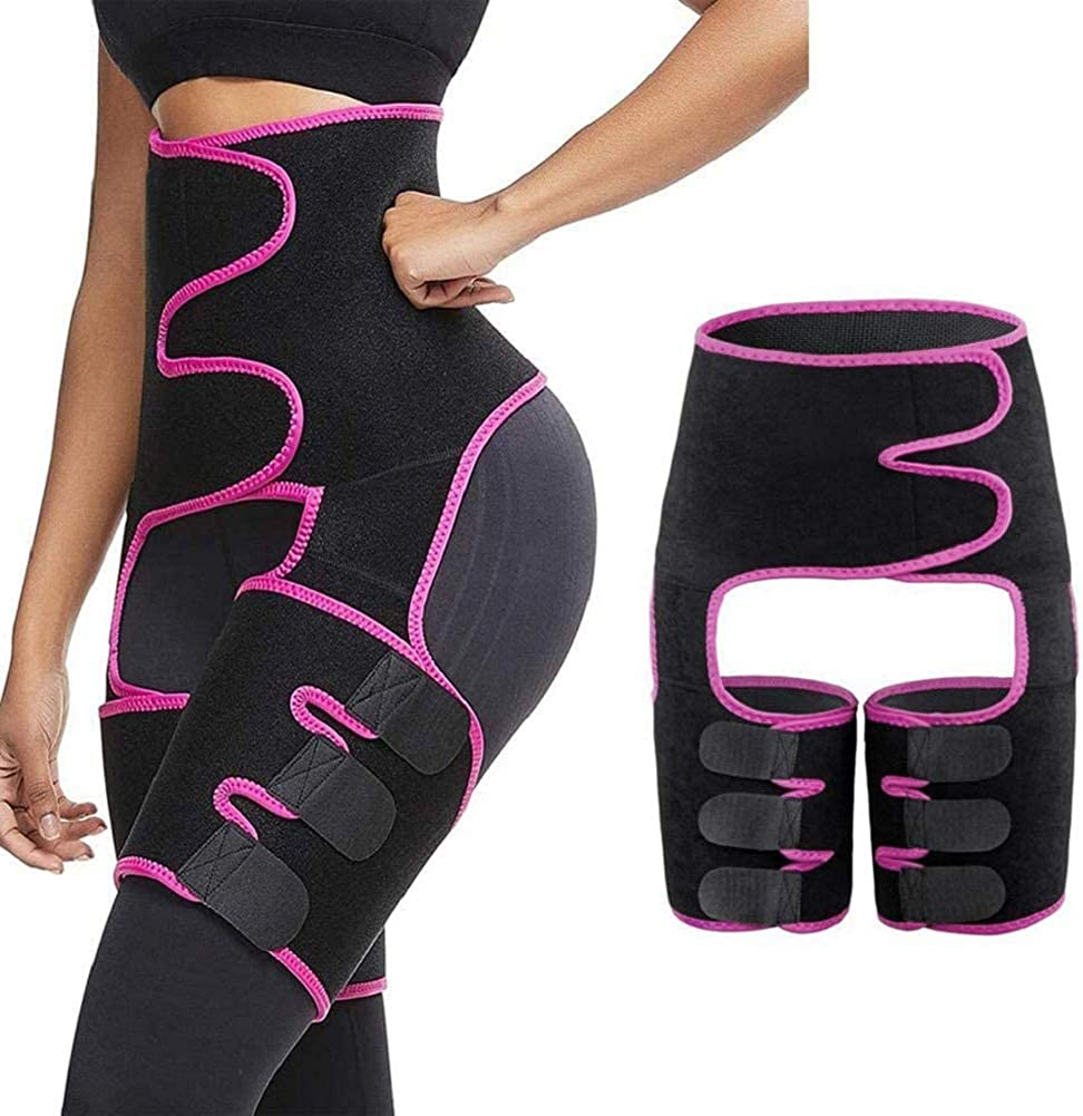 Amazon Com Scobuty Thigh Trimmer Waist Trainer High Waist And Thigh Trimmer 3 In 1 Weight Loss Butt Lifter Waist Trainer Shaping Slimming Support Hips Belt Trimmer Body Shaper Pink Clothing