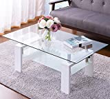 Merax Clear Glass Top Cocktail Coffee Tble with Wooden Legs, White Review
