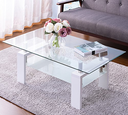 Merax Clear Glass Top Cocktail Coffee Tble with Wooden Legs, White