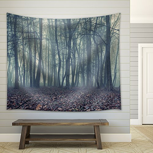 Foggy Evening in the Autumn Forest Fabric Wall Tapestry