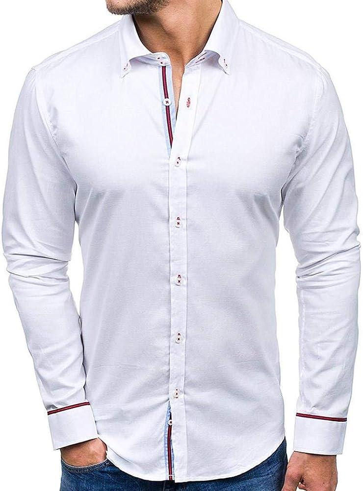 Camisa De Manga Larga De Camisa para Hombres Modernas Casual Corte Slim para Hombres con Cuello Kent Camisa De Manga Larga para Hombres Moda De Manga Larga para Hombres (Color : Blanco,