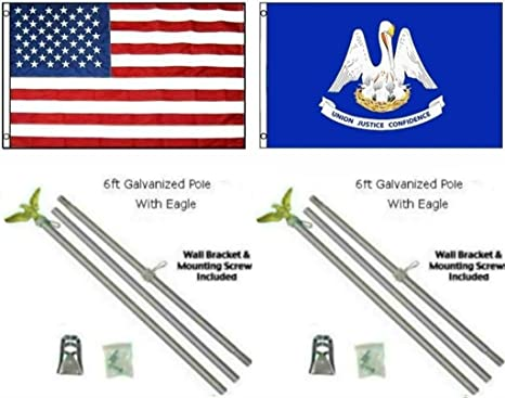 3x5 State of Alabama Flag Galvanized Pole Kit Eagle Top 3/'x5/'