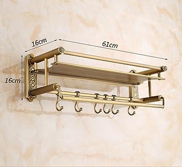 ZXC Bathroom racks Los estantes llenos de antigüedades Continental Cobre baño baño Cesta de Cobre de