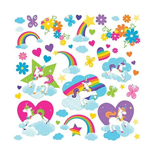 BirthdayExpress Enchanted Fairytale Unicorn Rainbow Room Decor - Small Wall Decal 4