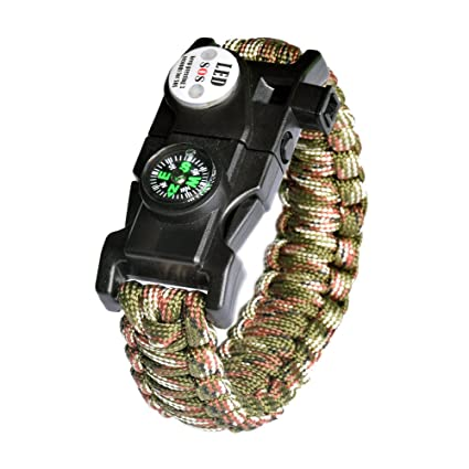 Amazon Com Survival Bracelet Sos Led Light Emergency Paracord