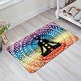 Yoga Doormats Asian Decor Rug Mat-Meditation Aura Ornamental Motive Spiritual Design Print Indoor Outdoor