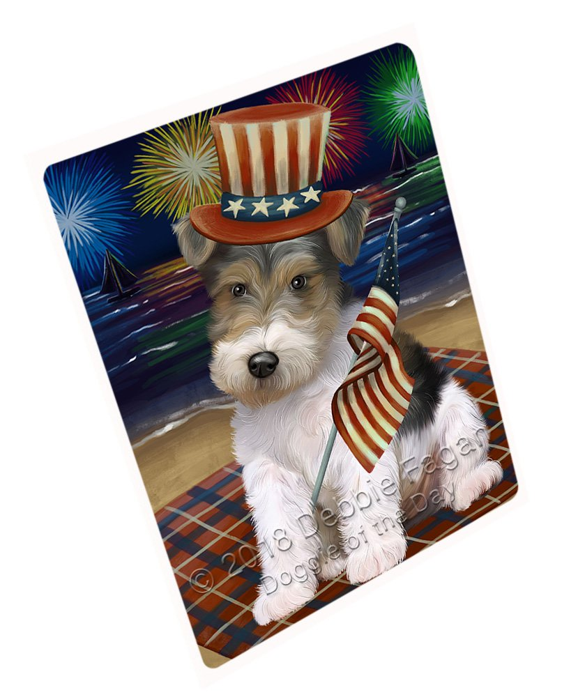 """4th of July Independence Day Firework Wire Hair Terrier Dog Large Refrigerator/Dishwasher Magnet RMAG72996 (18"""" x 24"""")"""