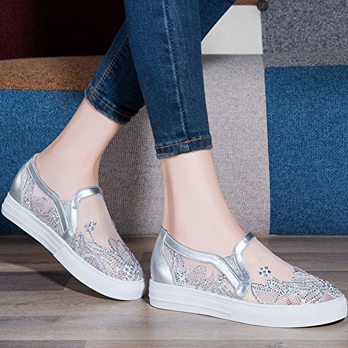 Flat Silver Sneakers Breathable Sole Toe Rubber U Shoes Vamp Casual Round Women Shoes MAC Chiffon xYqgUWwSBH