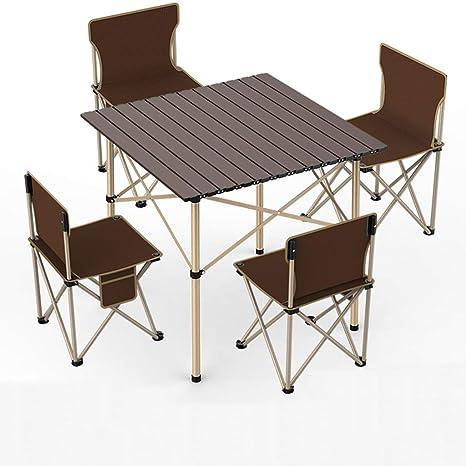 UNAU Mesa Plegable y 4 sillas. Conjunto portátil para Picnic ...