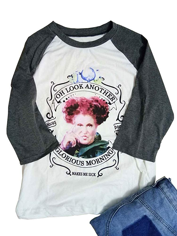 06a0867adf9 Amazon.com  ALLTB Plus Size Women Hocus Pocus Baseball T-Shirt Halloween 3  4 Sleeve Splicing Tops (Grey