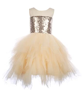 76b1fe70e4c Amazon.com  flowerry Champagne Sequin Tutu Flower Girl Dress Party ...
