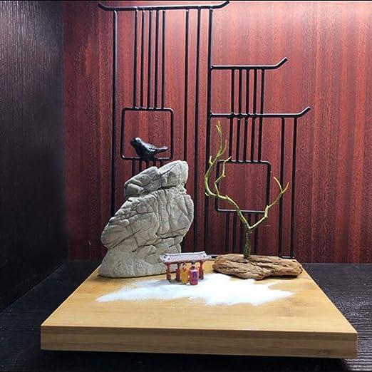 Hjyi Meditación Zen Garden,Jardin Zen Estilo Chino Seco Montaña Arena Decoración Mesa Piedra De La Montaña Madera Seca Decoración Caracteres Habitación Estudio Salón De Té Escritorio Micro Paisaje: Amazon.es: Hogar